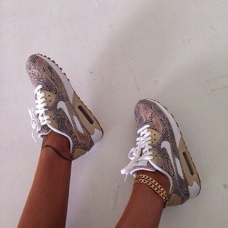 snake print snake shoes air max print nike sneakers nike shoes sneakers multicolor multicolores brown white snake pattern nike air nike shoes cardigan jewels nike running shoes snakeskin sneakers tan nike air max 90 nike roshe run trainers nikes nike air max 1 leopard print nike leopard shoes