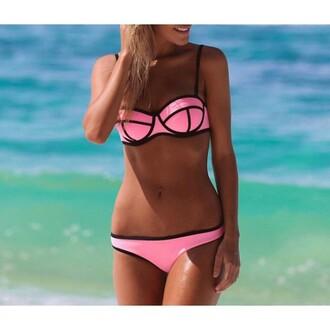 swimwear bikini pink hot sexy cute colorful lovel y