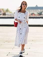 dress,polka dots,midi dress,sneakers,button up,handbag,round sunglasses