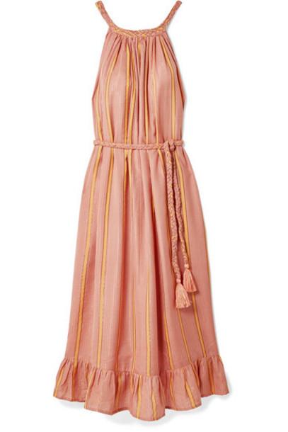 APIECE APART - Caspia Striped Gauze Midi Dress - Coral
