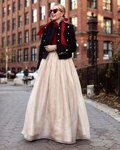 skirt,maxi skirt,black blazer,top,sunglasses,bow