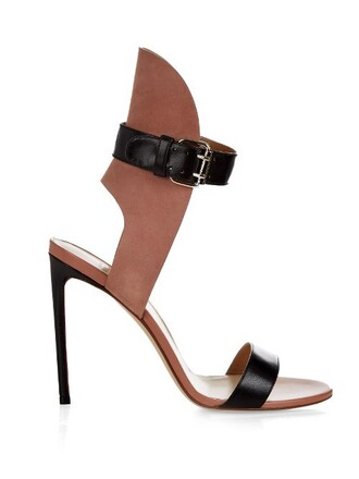 sandals leather suede black pink shoes