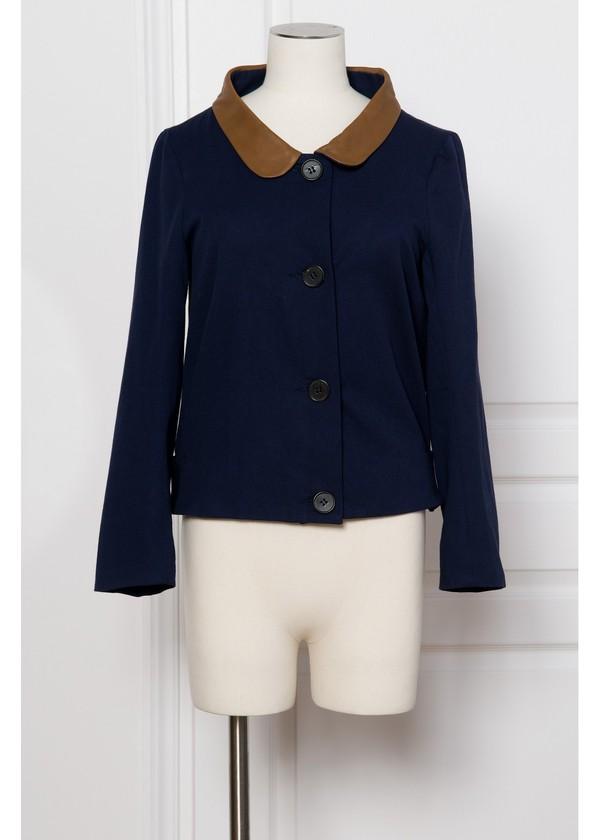 coat leather blue jacket brown jacket jacket