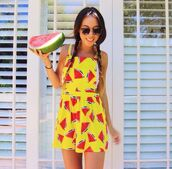 dress,yellow,summer,bright,watermelon print,pattern