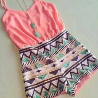 jumpsuit aztec jewels light pink aztec print skirt coral necklace pink