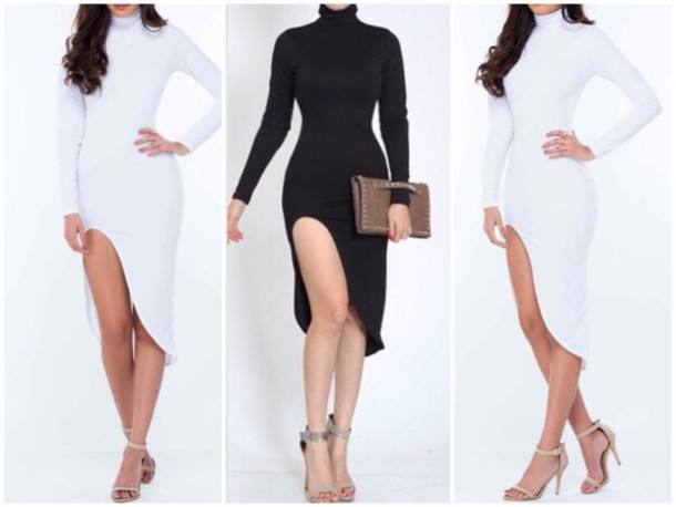 dress slit dress bodycon dress white dress black dress