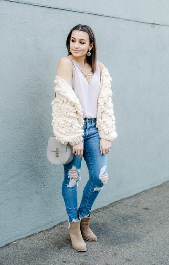 hashtagfablife blogger cardigan jeans top bag shoes winter outfits ankle boots