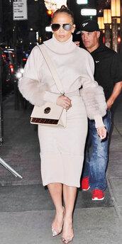 bag,jennifer lopez,midi skirt,midi dress,monochrome outfit,sunglasses,fur,dress,turtleneck,turtleneck dress