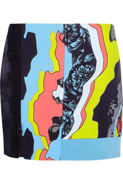 Versace - Printed Paneled Satin And Silk-jacquard Mini Skirt - Bright blue