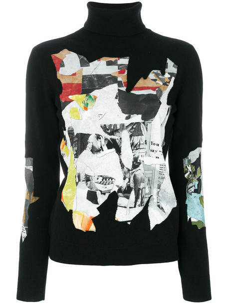 Moschino jumper women magazine black wool sweater