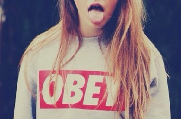 sweater obey swag red white