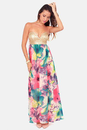 Sexy Sequin Dress - Floral Print Dress - Maxi Dress - $75.00