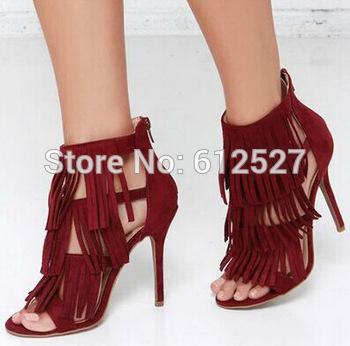 08aeb04fbab Hot selling fringe high heel sandal wine red suede stiletto heels pumps  brand summer dress shoes women ...
