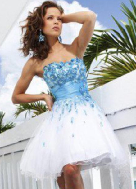 Dress Homecoming Dress Short Prom Dress Blue And White Floral