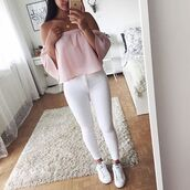 top,pink,pastel pink,pink crop,crop,shoulderless,off the shoulder,baby pink,peppermayo