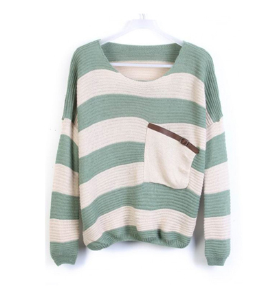 Green stripes loose sweater with