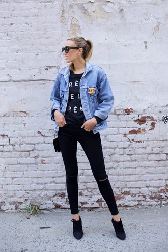 mind body swag blogger jacket jeans top shoes bag sunglasses