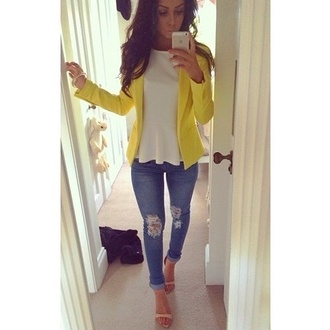 jeans ripped jeans demin coat shoes jacket shirt pants high heels jewelry blazer blouse cardigan peplum shirt heels yellow top