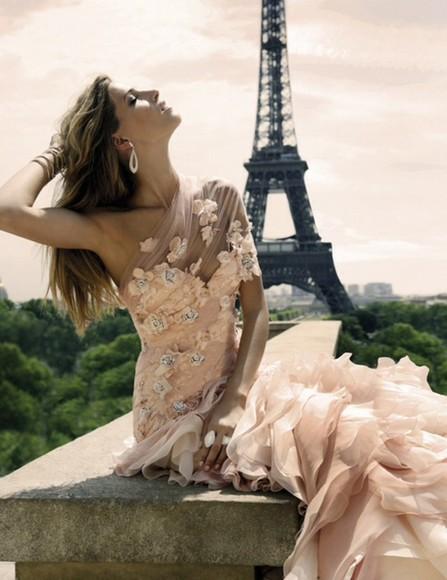 eiffel tower dress prom dress flowery dress pastel pink