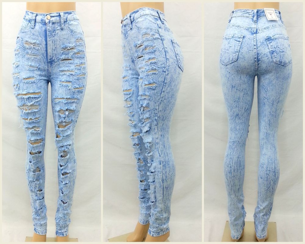 High Waist Rise Light Blue Acid Wash Wrinkled Ripped Jean Pants | eBay