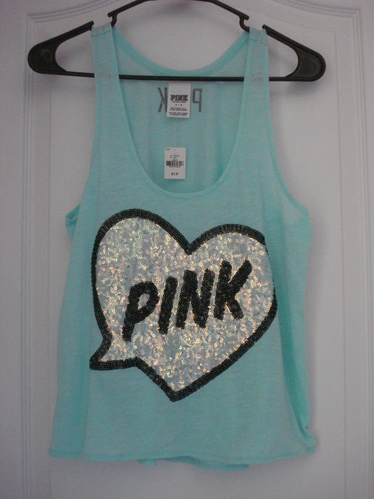 Victoria's Secret Love Pink Super Bling Sequin Tank Top Shirt Yoga | eBay