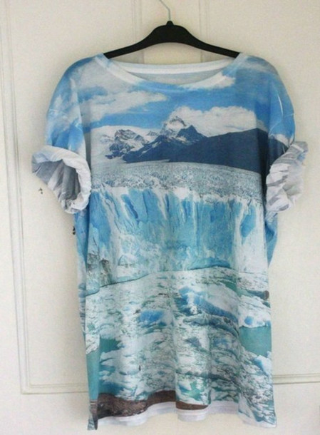 Shirt ocean mountain blue t shirt wave clear clouds for Ocean blue t shirt