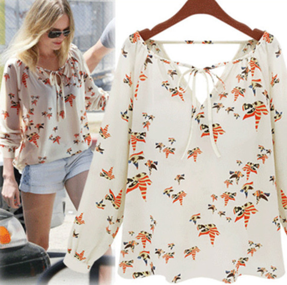 blouse white blouse chiffon digital print birds bird print