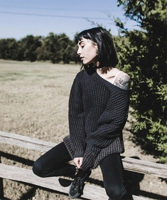sweater oversized sweater oversized knitwear knitted sweater grey black charcoal hannah pixie snowdon