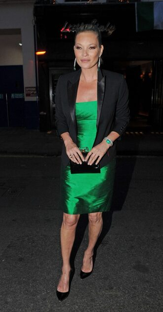 dress kate moss pumps blazer green green dress jacket