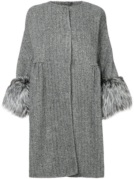 Ermanno Scervino coat fur fox women white cotton silk wool