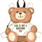 Moschino mini toy bear paper cut out backpack, nude/neutrals, calf leather