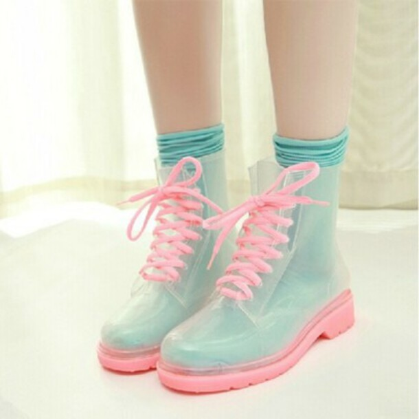 pastel DrMartens shoes wellies pink cute transparent kawaii sweet