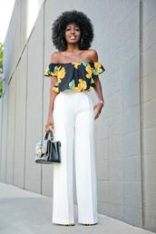 blogger,pants,bag,floral top,off the shoulder,crop tops,white pants,wide-leg pants,black bag