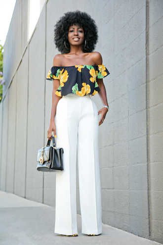blogger pants bag floral top off the shoulder crop tops white pants wide-leg pants black bag