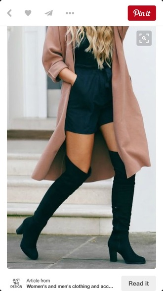 shoes black black boots black heels heeled black boots knee high boots black knee high boots over the knee boots