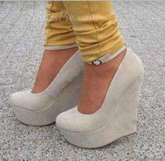 shoes wedges high heels ankle strap ankle strap wedges nude gray grey grey wedges nude wedges nude shoes grey shoes grey scarf