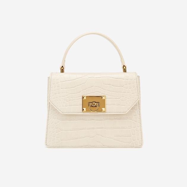 Ava Top Handle Bag - Beige Croc