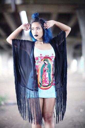 cardigan kimono black grunge boho fashion fringe style outfit hair festival dress