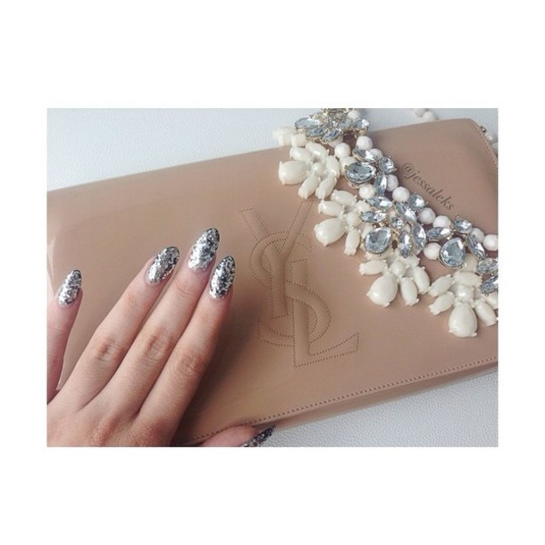 Bag: nude, ysl, leather wallet, nude wallet, nail polish, ysl ...