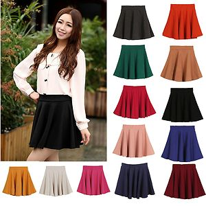 2013 new women candy color stretch waist plain skater flared pleated mini skirt