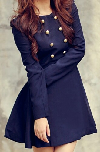dress clothes jacket trench coat sailor style girly coat nice cute new style outfit idea blue dress navy gold buttons coat dress double breasted navy dress fall outfits winter dress winter coat winter outfits fall dress button up dress navy coat fashion blue www.ebonylace.net double breasted button front double breasted coat classy dress buttons