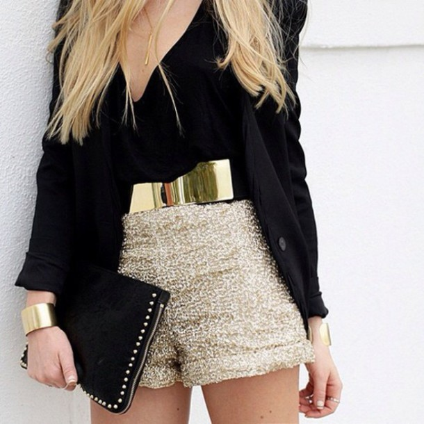 shorts gold sequins