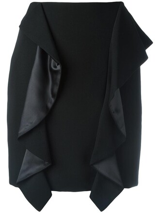 skirt mini skirt mini women draped black silk wool
