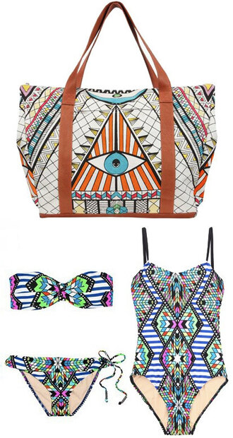white bag eye geometric blue swimwear swimwear bag