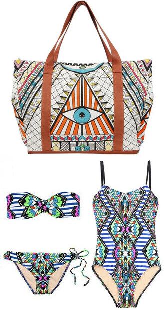 white bag eye geometric blue swimwear
