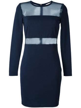 dress sheer women spandex blue