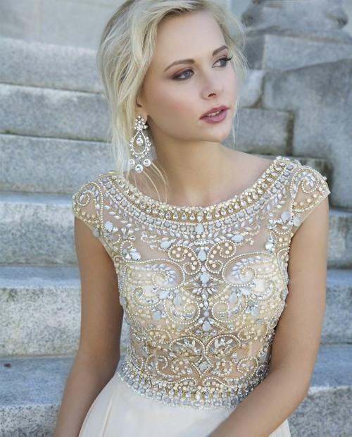 Line chiffon elegant crystal dresses qw912bi