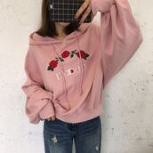 sweater,pink,girly,cute,fashion,style,trendy,hoodie,casual,roses,flowers,gucci,champion,long sleeves,beautifulhalo,jacket,tumblr,embroidered,champion hoodie,rose,champions,baby pink,gucci x champion pink hoodiee,GUCCI SWEATSHIRT,flowered,blouse