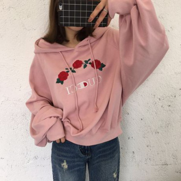 Sweater pink girly cute fashion style trendy hoodie casual roses flowers gucci ...