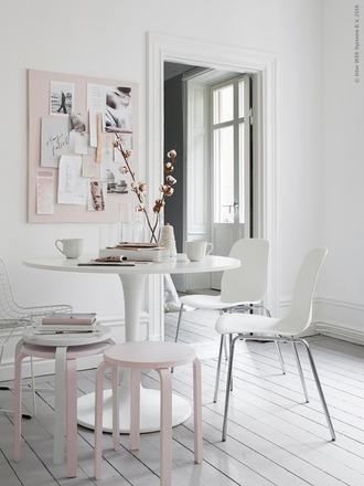 home accessory table chair pastel pink white home furniture furniture